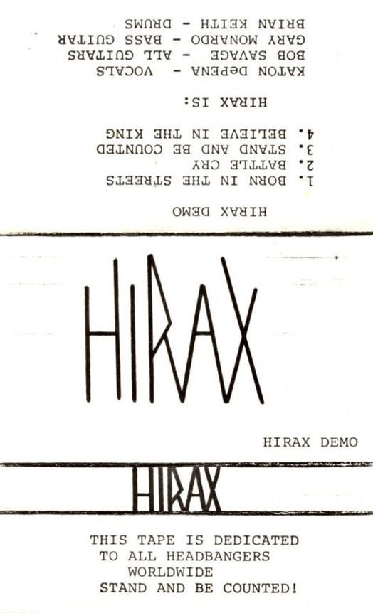 Hirax 1984 Cassette Demo Insert